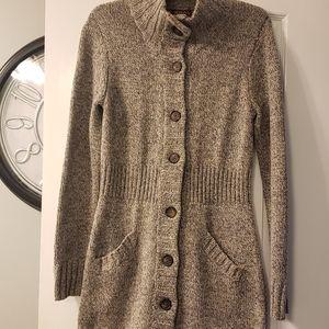 Merona long gray/ tan cardigan size M
